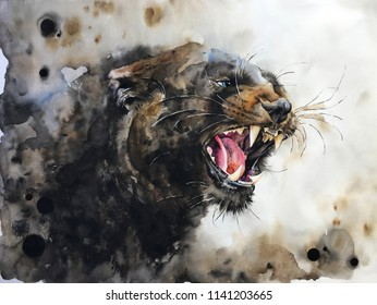 Watercolour painting of panther