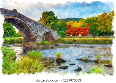 Watercolour painting of Pont Fawr bridge over the river Conwy at Llanrwst on the edge of Snpwdonia National Park in north Wales