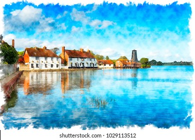 Watercolour painting of pretty cottages adn an old mill on the quay at Langstone on the Hampshire coast