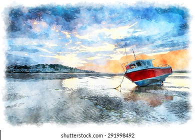 Watercolour painting of a red fishing boat on the beach at Instow and looking out at Appledore across the water