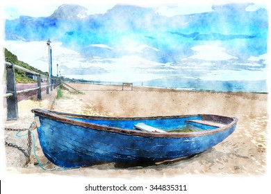 Watercolour painting of a rowing boat on the beach at Bournemouth on the Dorset coast