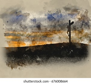 Watercolour painting of Silhouette of Jesus Christ crucifixion on cross on Good Friday Easter reflected in lake water