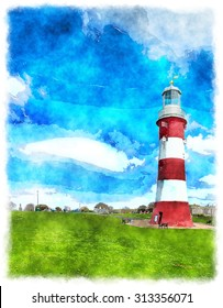 Watercolour painting of Smeaton's Tower the historic lighthouse on the Hoe at Plymouth in Devon
