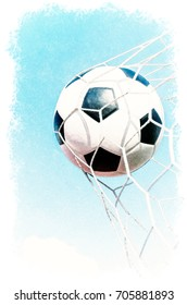 Watercolour Painting of Soccer football in Goal net with the sky field.