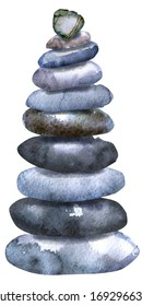 Watercolour painting of a stack of flat pebbles