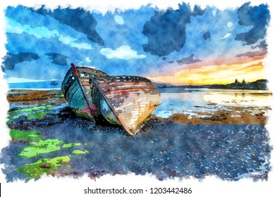 Watercolour painting of a stormy sunrise over abandoned fishing boats at Salen on the Isle of Mull in Scotland
