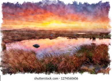 Watercolour painting of a stunning sunrise from Cleitreabhal a'Deas a hill in North Uist in the Western Isles of Scotland