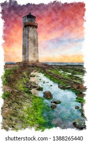 Watercolour painting of a stunning sunrise over the lighthouse at Southerness on the Galloway coast in Scotland