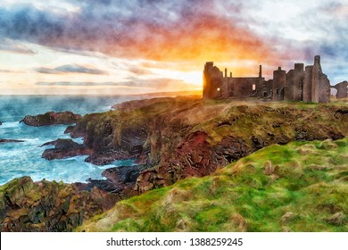 Watercolour painting of a stunning sunset over Slains Castle near Peterhead on the east coast of Scotland