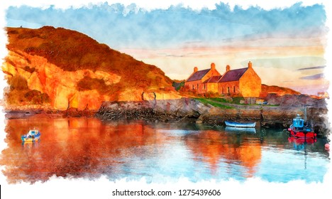 Watercolour painting of sunrise at Cove harbour on the east coast of Scotland