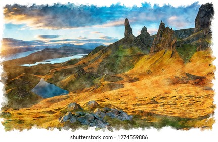 Watercolour painting of sunrise over the Old Man of Storr rock pinnacles on the isle of Skye in Scotland