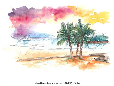 watercolour painting of sunset at the beach with coconut trees colourful illustration