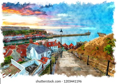 A watercolour painting of sunset over the 199 Steps leading down to Whitby harbour on the Yorkshire coast