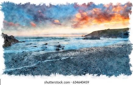 Watercolour painting of sunset over the beach at Church Cove near Gunwalloe on the Cornwall coast