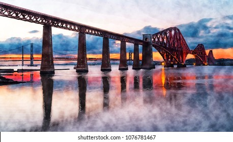 Watercolour painting of sunset over the Forth Bridge from Queensferry near Edinburgh in Scotland
