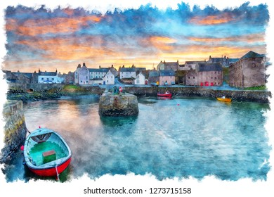 Watercolour painting of sunset over Portsoy a fishing village in Aberdeenshire on the east coast of Scotland