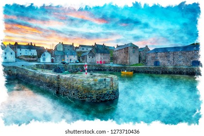 Watercolour painting of sunset at the pretty fishing harbour of Portsoy in Aberdeenshire in Scotland