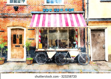 Watercolour painting of a traditional barber shop with bicycles outside