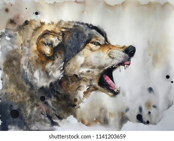 Watercolour painting of wolf