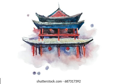 Watercolour painting of Xian fortifications. Sian city wall, China aquarelle illustration.