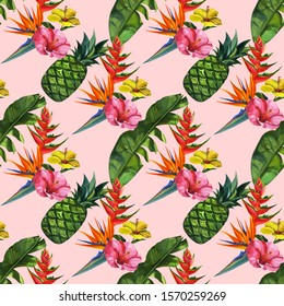 Watercolour pattern with tropical palm leaves, pineapples, and flowers. Seamless pattern, summer background