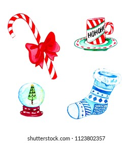 Watercolour raster illustration with Christmas elements.