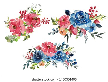 Watercolour roses, red and blue with greenery illustration. Perfect for wedding invites, cards, stationery. Hand painted.