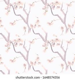Watercolour Sakura Drawing. Gray Cherry Flower Texture. Modern Chinese Background. Pink Sakura Drawing. Pastel Romantic Art Style. Japanese Apple Illustration. Seamless Sakura Drawing.