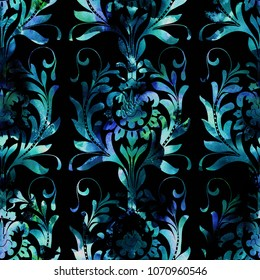 Watercolour seamless ethnic floral damask pattern. Traditional ornament of Russia, shades of blue and green on black background. Textile design.