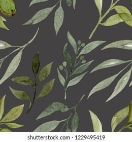 Watercolour seamless pattern with elements of plants on grey background. Watercolour illustration of hand painted. Cute design for wallpaper, textile, fabric, wrapping paper, background.