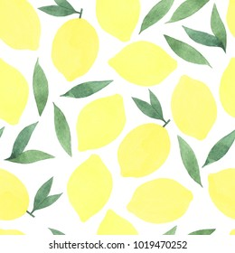 Watercolour seamless pattern. Lemons and leaves