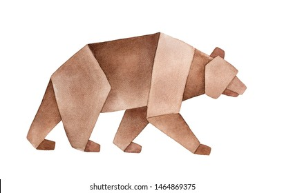 Watercolour sketch of Brown Origami Bear. Sign of strength, power, protection, courage, independence. Hand painted water color sketchy painting on white, cut out clipart element for design decoration.