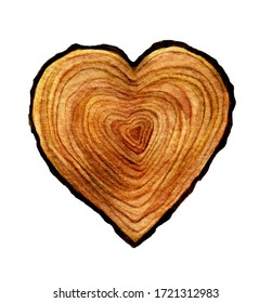 Watercolour wooden Heart isolated on white background. Watercolor heart wood slice illustration.