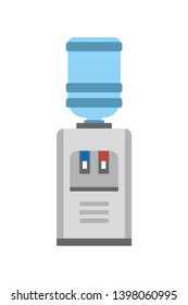Watercooler machine poster with construction made of gallon and small table red blue lamps plastic bottle purity raster illustration