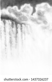 Waterfall by ink. Landscape of a mountain of water by ink. Chinese ink painting. Painting on raw sheet