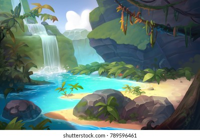 Waterfall exotic beach and river background painting for game or animation