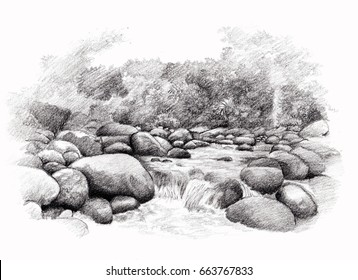 waterfall hand sketch, drawing by pencil