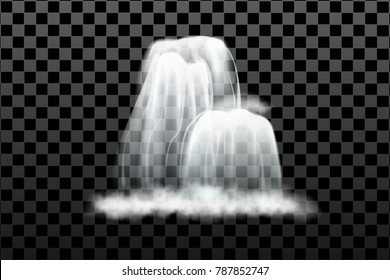 Waterfall, isolated on transparent background. illustration.