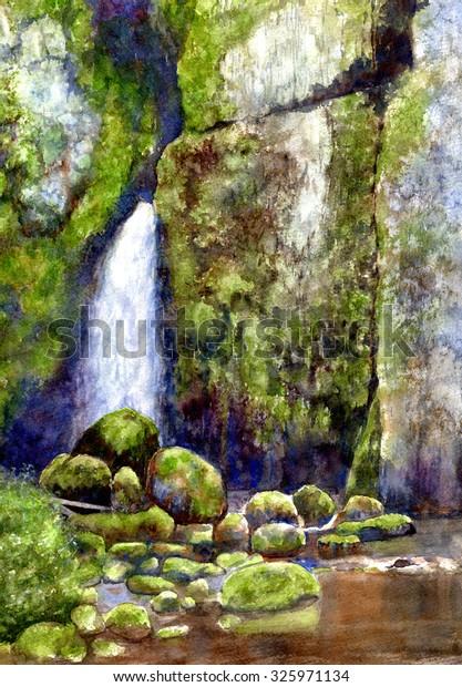 Waterfall Mossy Rocks Watercolor Landscape Painting Stock