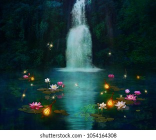 Waterfall at night and pond wiht lilies and dragonflies. Photo manipulation. 3D rendering.