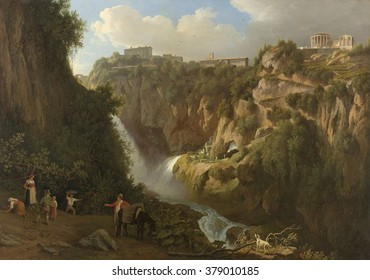 The Waterfall at Tivoli, by Abraham Teerlink, 1824, Dutch painting, oil on canvas. Town of Tivoli line the top of mountain, with Roman circular Temple of Vesta, goddess of domestic harmony.