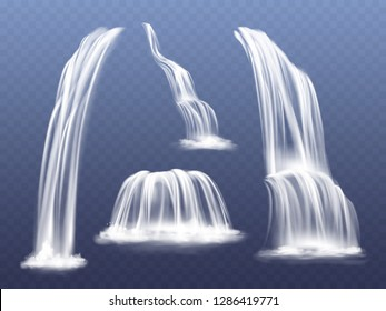 Waterfall or water cascade illustration. Isolated realistic set of flowing streams falling down from mountain rocks with splashes and spatters on background