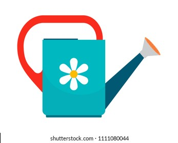 Watering can colorful icon on white background. illustration