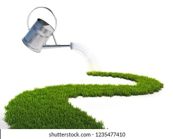 Watering can pouring water on the grass pathway, growth 3d concept, 3d rendering