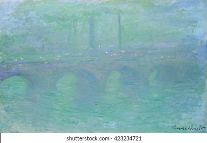 Waterloo Bridge, London, at Dusk, by Claude Monet, 1904, French impressionist painting, oil on canvas. Monet said, 'Without fog, London would not be a beautiful city. It is the fog that gives it its
