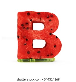 Watermelon Alphabet isolated on white background (Letter B). 3D Rendering
