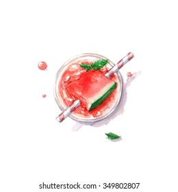 Watermelon Cocktail - Watercolor Food Collection