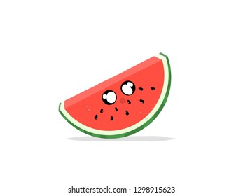 watermelon with funny face white background