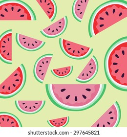 Watermelon illustration pattern on a light green background./Watermelon background