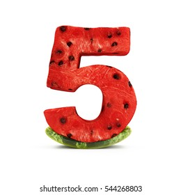 Watermelon Numbers isolated on white background (Number 5). 3D Rendering